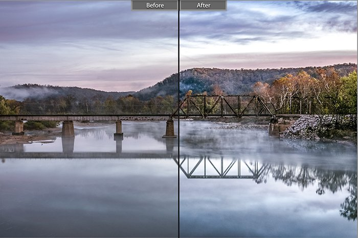 Split image showing before and after editing with High Contrast Scene – Light Shadows lightroom presets on a landscape photo