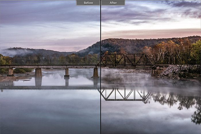 Split image showing before and after ediitng with Magic Nature lightroom presets for a landscape photo