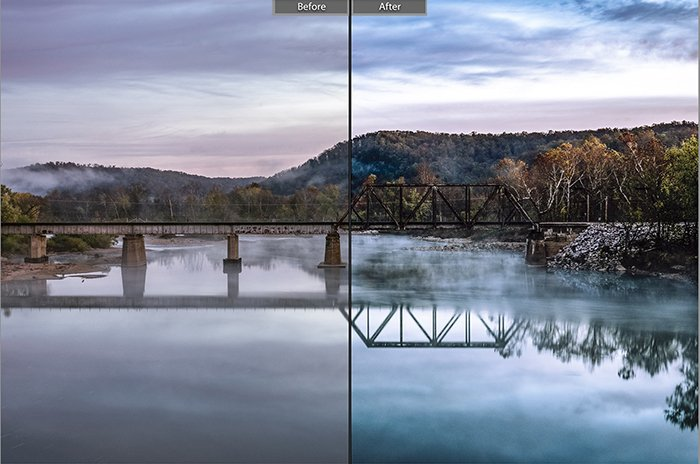 Split image showing before and after editing with Sucker Punch lightroom presets on a landscape photo