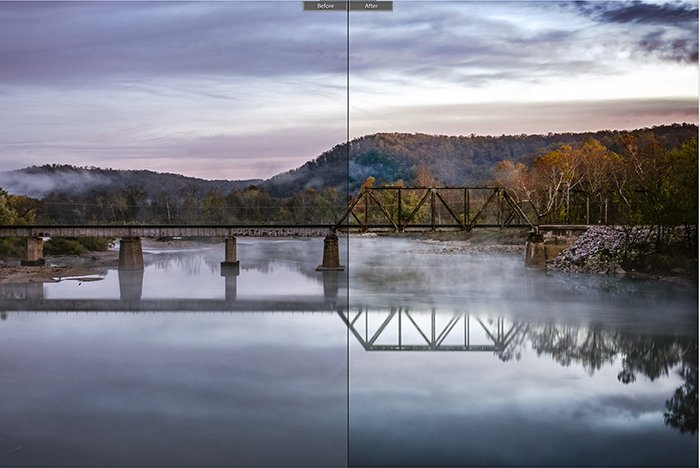 Split image showing before and after editing with Summer Breeze lightroom presets on a landscape photo