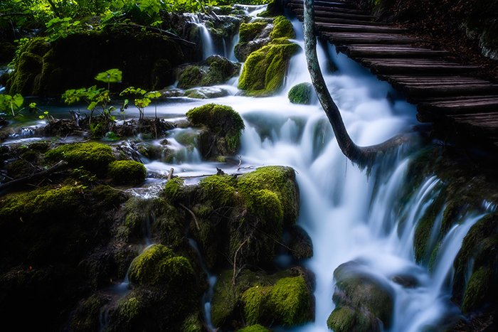 HDR flowing waterfall
