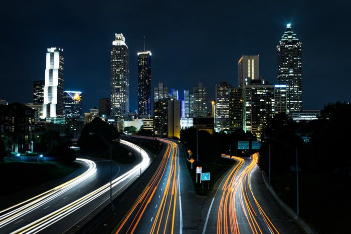 A sprawling cityscape at night