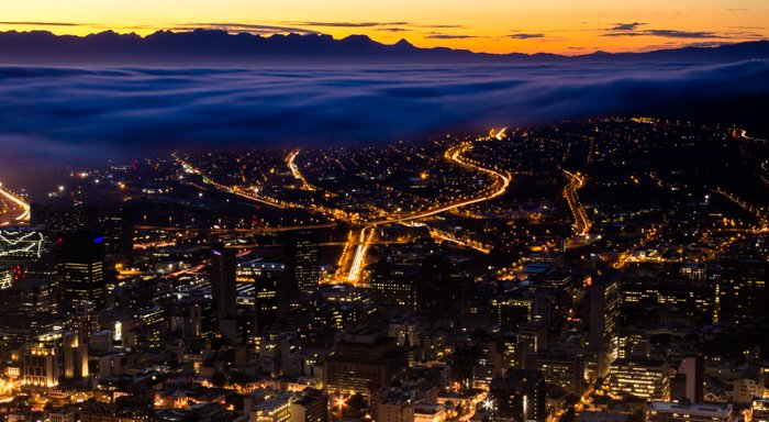 High angle shot of a city at night