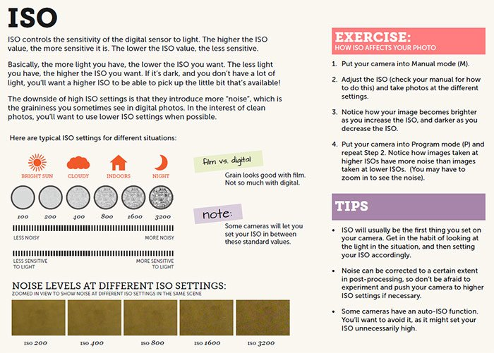 Screenshot of ISO tips from 'Extremely Essential Camera Skills' ebook