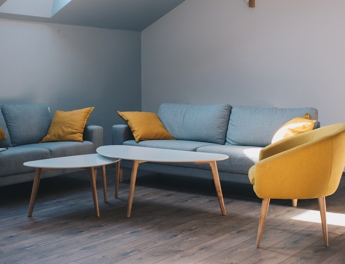 Blue and yellow furniture indoors