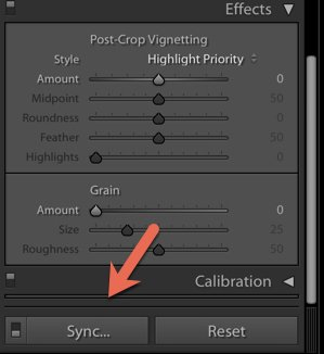 a screenshot showing how to sync presets in Lightroom