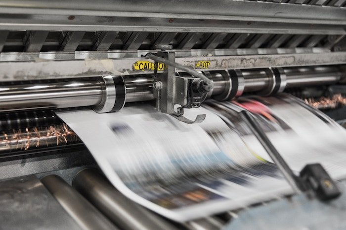 Industrial printer at work