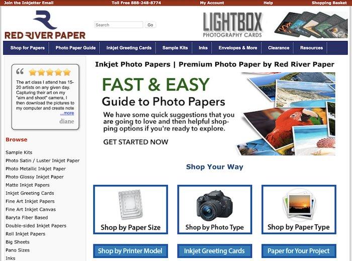 A screenshot of red river paper website