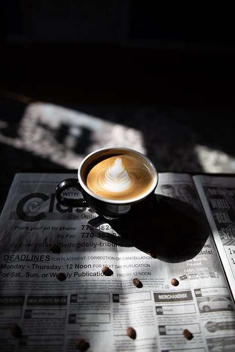A cup of coffee on a newspaper