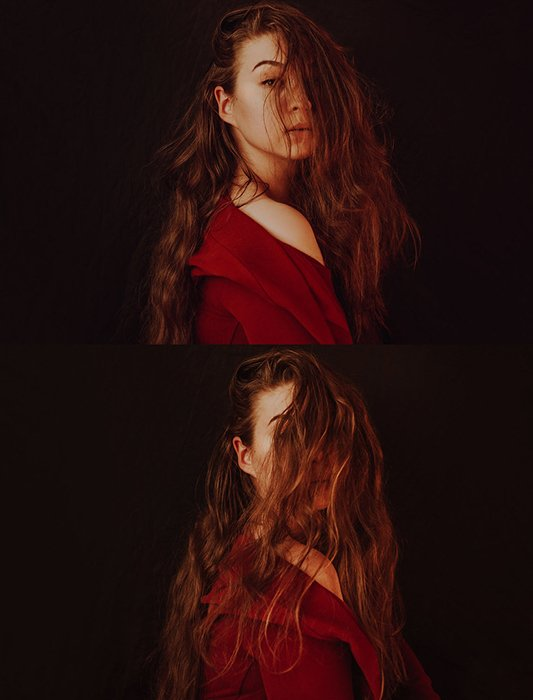 Diptych portrait photography of a female model