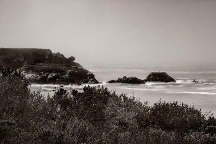 Sepia photo of a beach