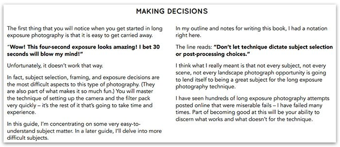 An extracted page from the Complete Guide to Long Exposure Photography