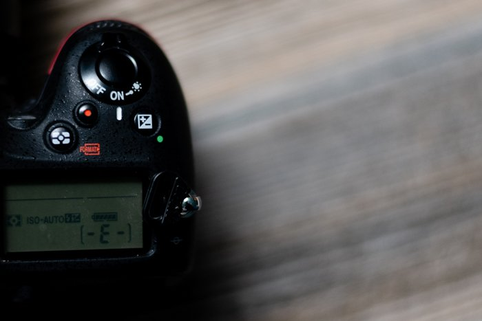 Overhead view of a DSLR camera settings dial