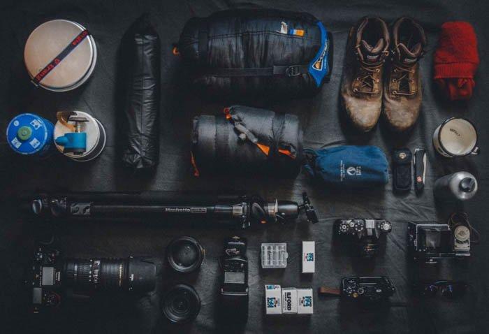 Overhead photo of photography equipment