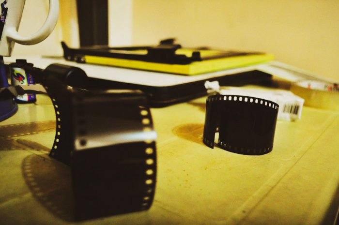 Photography film on a desk