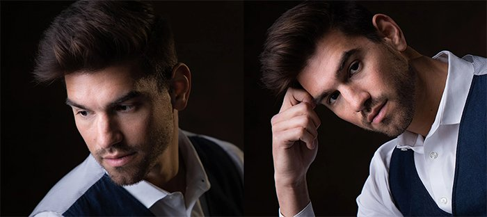 Diptych portrait of a male model