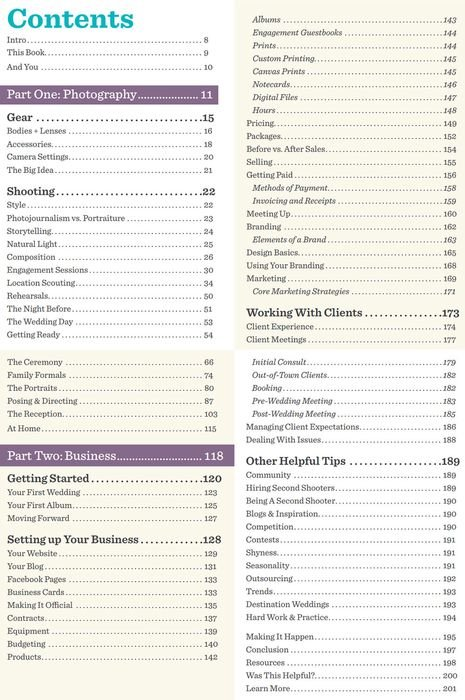 A screenshot of the Table of Contents from Simple Wedding Photography ebook