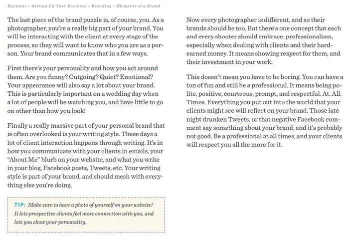 Screenshot of the Simple Wedding Photography ebook