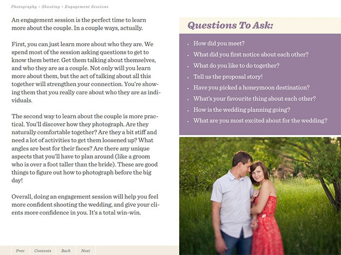 Screenshot from the Simple Wedding Photography ebook
