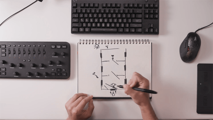 Overhead shot of a person drawing a photography lighting setup diagram