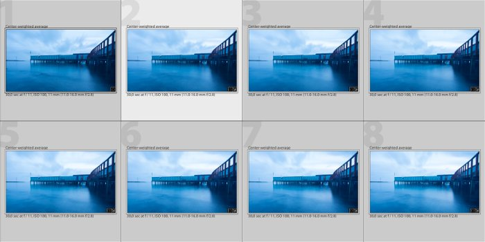Screenshot of focus stacking a long exposure of a bridge