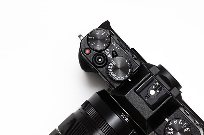 Overhead close up of a camera