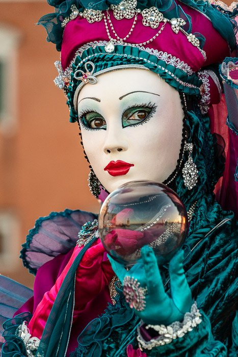 Close-up of masked costume at Carnival in Venice.