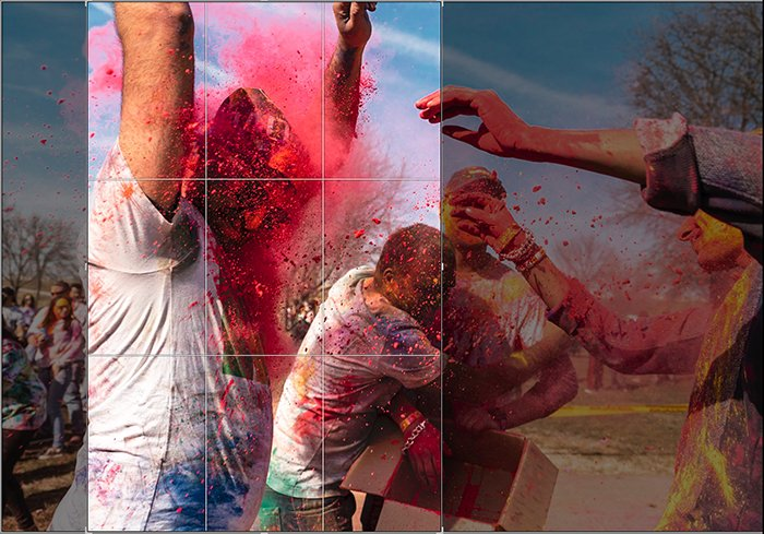 Cropping a photo of paint thrown in the face of a dancer at a local Holi festival in Lightroom