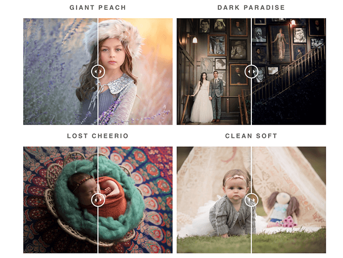 Screenshot showing Free PS Actions for Portrait, Wedding & Newborn