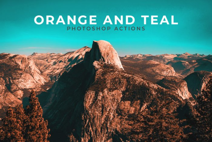 Screenshot of Free Orange and Teal Photoshop Actions
