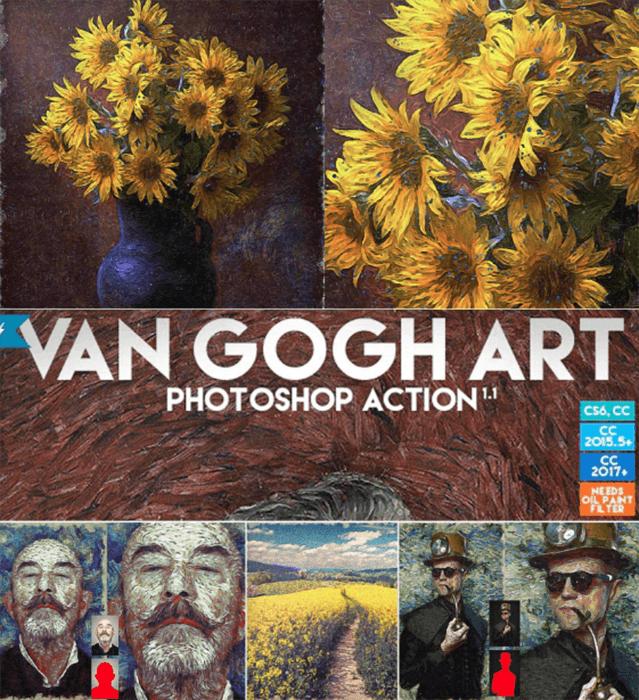 Screenshot of Free Van Gogh Art Photoshop Action