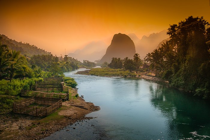 Photograph of Lao karst mountains.