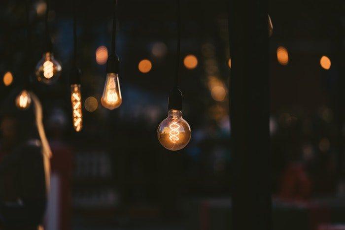 Photo of lightbulbs in the dark