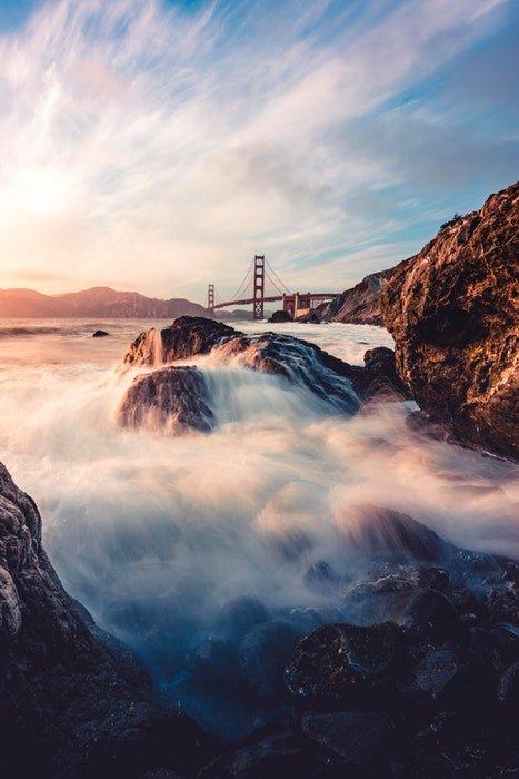 Beautiful long exposure of a flowing waterfall