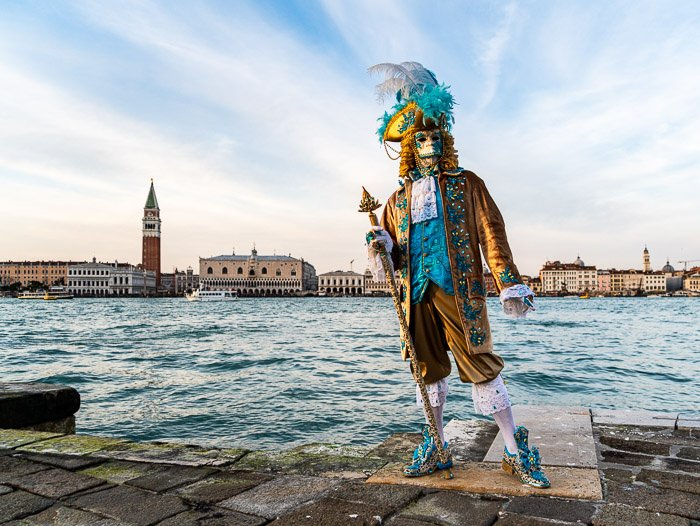 Masked model in Venice, Italy during Carnival.