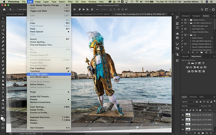 Photoshop screenshot showing the process of auto-aligning layers.