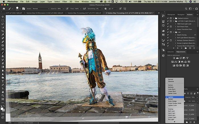 Photoshop screenshot showing the process of applying a lighten blend mode.