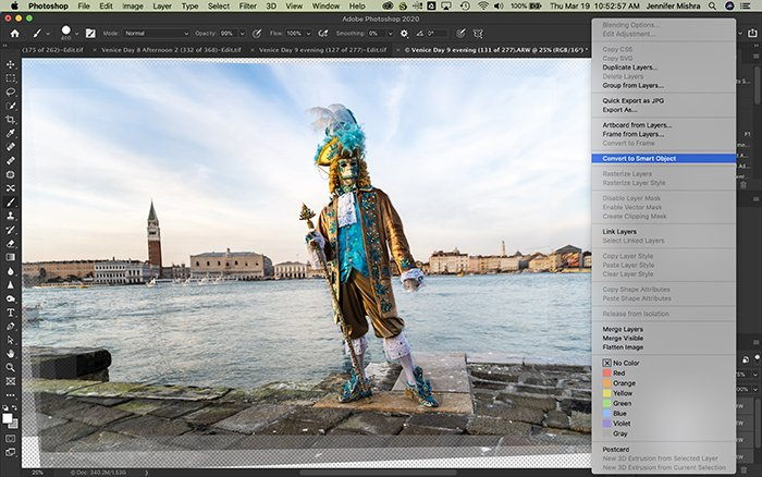 Photoshop screenshot showing the process of converting layers to smart object.
