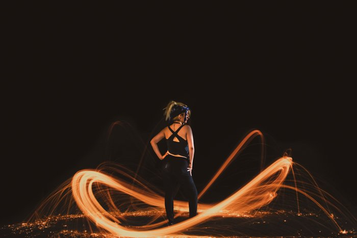 photo of a girl with steel wool effects