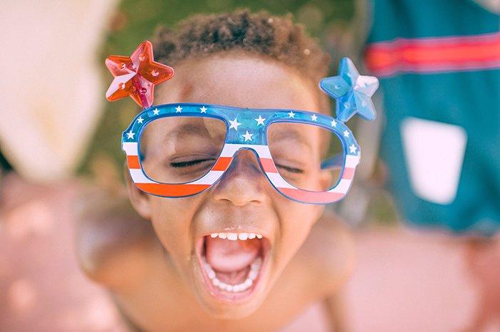 Cute child in funny glasses