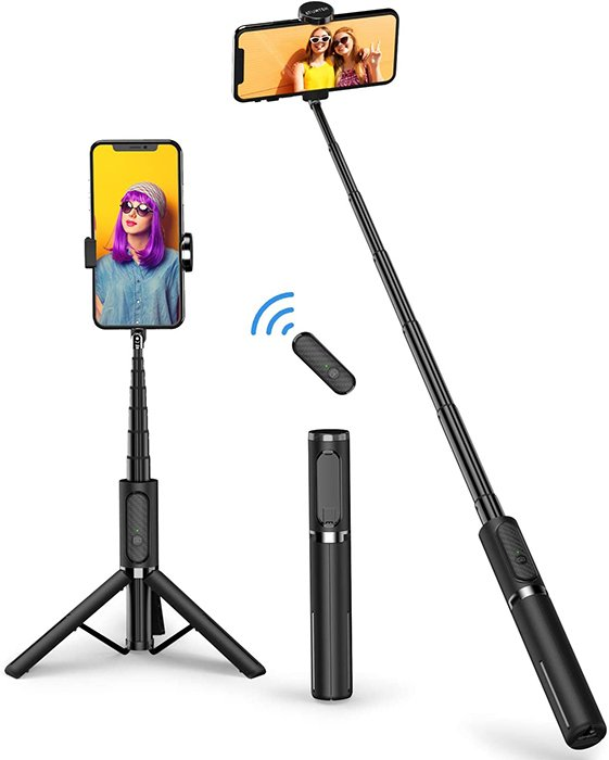 Image of a selfie tripod stick.