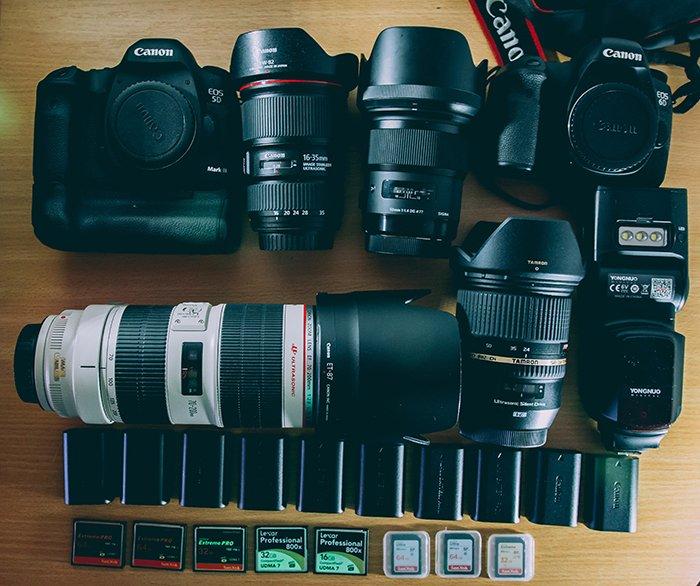 An overhead shot of camera equipment
