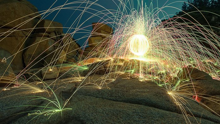 cool steel wool photography on a beach