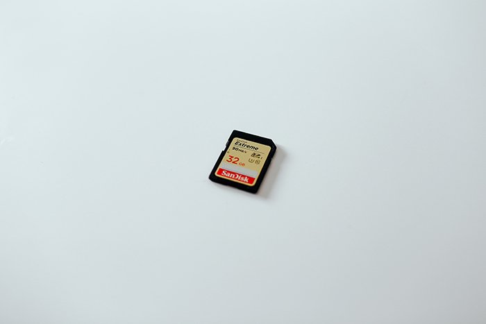 Photo of a 32gb memory card