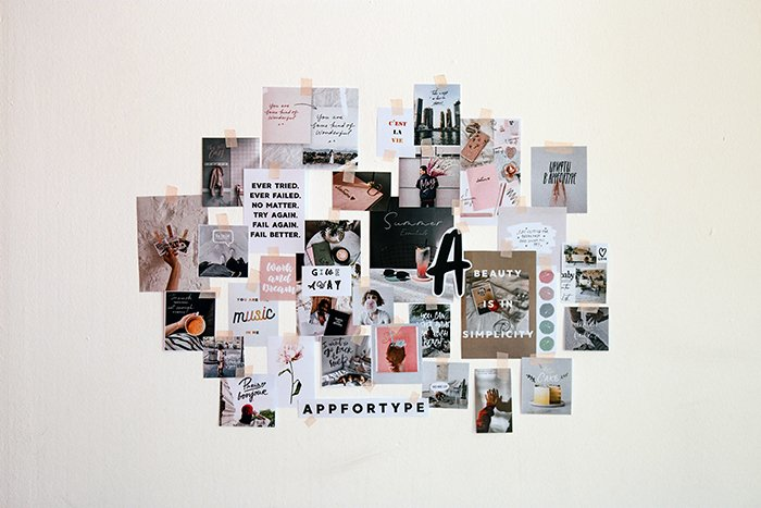 A photo collage on the wall
