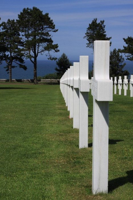 Rows of white stone crosses in a cemetery