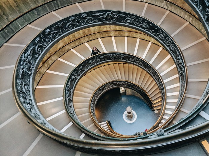 Overhead shot of an ornate spiral staircase
