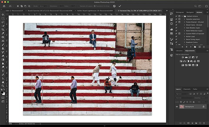 Screenshot of Photoshop showing transform box created by Content Aware Move tool.