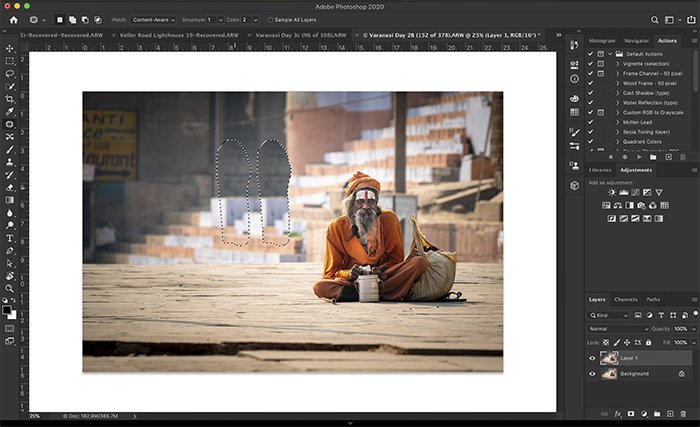 Using Photoshop content aware fill