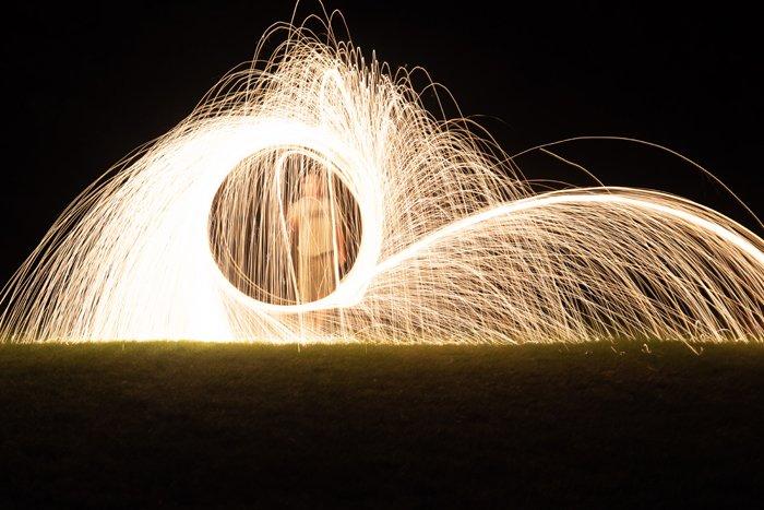 steel wool photography on a field
